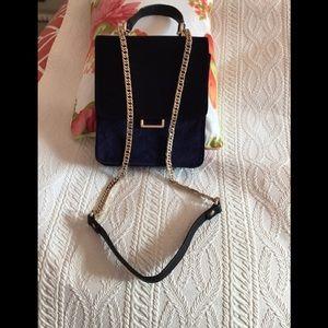 ZARA navy blue velvet shoulder bag.